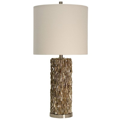 Mystic Shell Brown Table Lamp with White Hardback Fabric Shade - StyleCraft