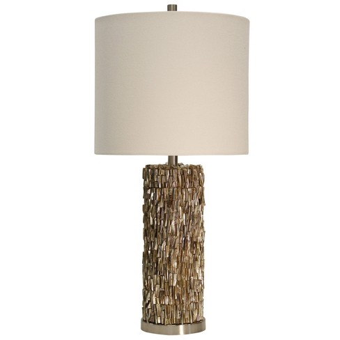 Mystic Shell Brown Table Lamp With White Hardback Fabric