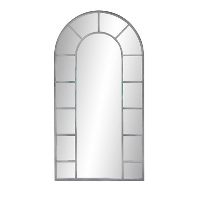 """60"""" x 32"""" Contemporary Iron and Wood Framed Arched Wall Mirror Silver - Olivia & May"""