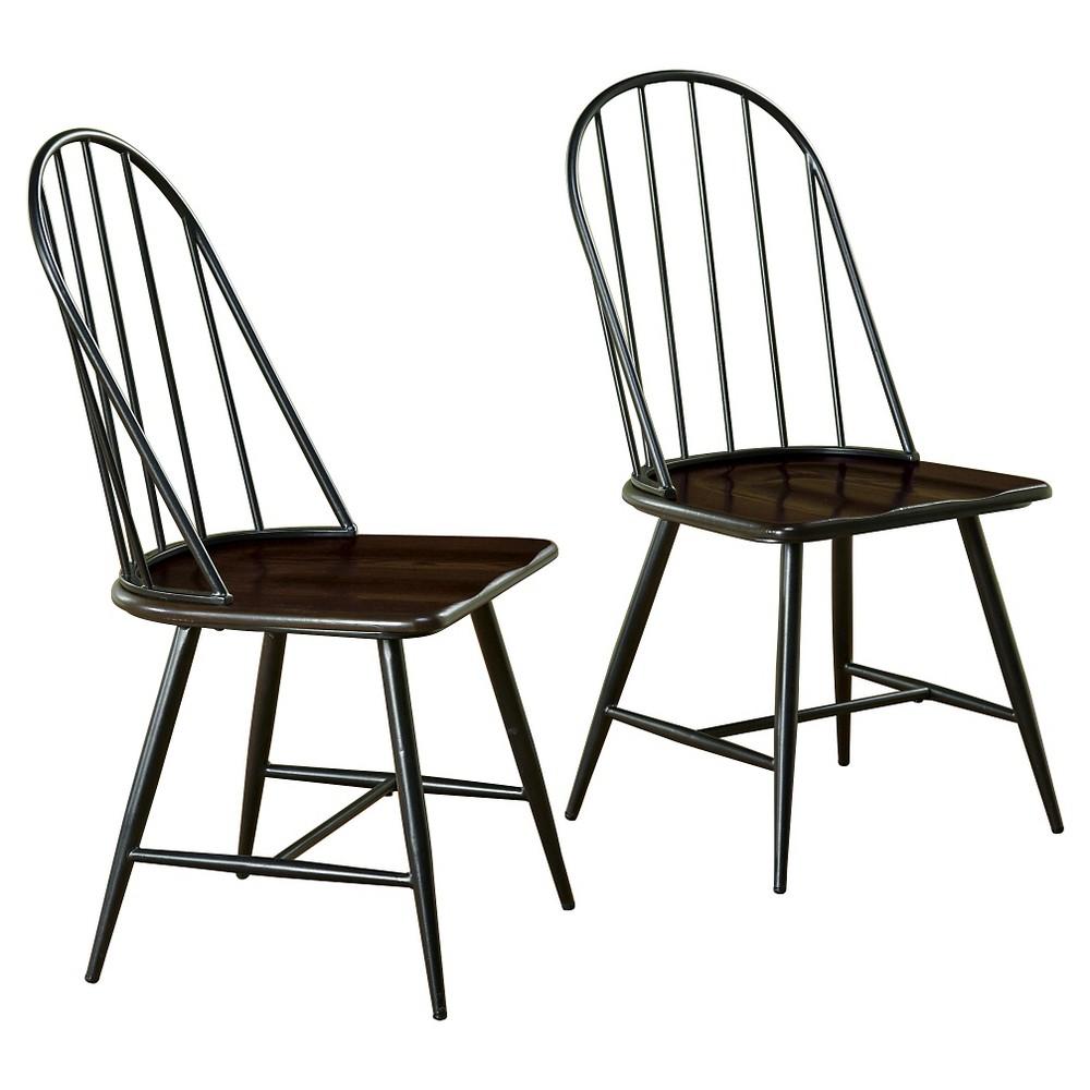 Milo Mixed Media Wood Top Chair Metal/Black (Set of 2) - Tms