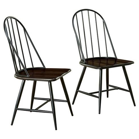 Milo Mixed Media Wood Top Chair Metalblack Set Of 2 Tms Target