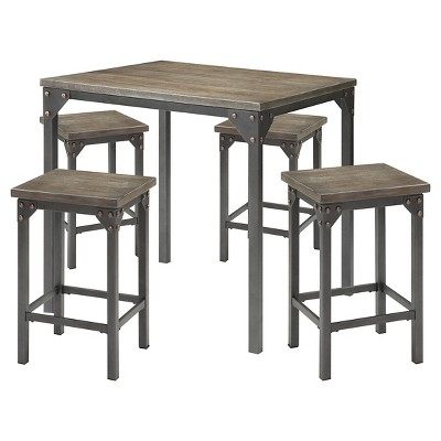 5 Piece Percie Industrial Counter Height Dining Set Oak/Black Antique Metal    ACME