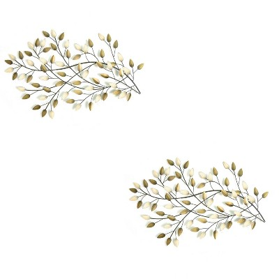 Stratton Home Decor Blowing Leaves Modern Decorative Wall Art, Gold (2 Pack)