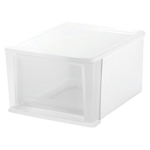 IRIS 17 Qt Stacking Drawer, White - 4 Pack - image 1 of 4