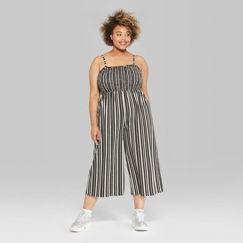 dcec8518054 Women s Plus Size Striped Strappy Knit Smocked Top Jumpsuit - Wild Fable™  Black White