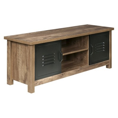 Norwood Range TV Stand Entertainment Center Wood And Black Metal Oak - OneSpace