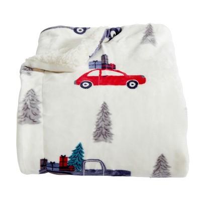 Home Fashion Designs Reversible Sherpa Velvet Plush Throw Blanket Trees Trucks Target