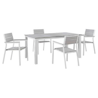 Maine 5pc Rectangle Metal Patio Set - White/Light Gray - Modway