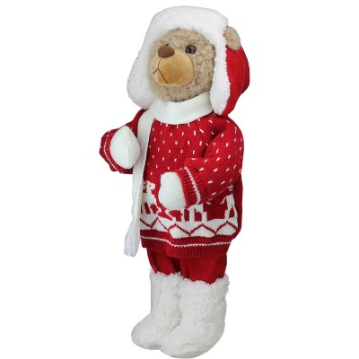 """Northlight 20"""" White and Red Winter Boy Bear in Deer Sweater Christmas Decoration"""