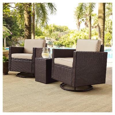Palm Harbor 3pc All-Weather Wicker Patio Conversation Set Cushions w/Swivel Chairs - Crosley