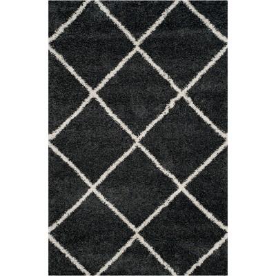 6'X9' Hudson Shag Area Rug Dark Gray/Ivory - Safavieh