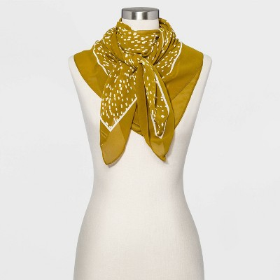 Women's Scatter Print Square Crepe Scarf - A New Day™ Light Olive One Size