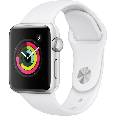 Apple Watch Series 3 GPS 38mm Silver Aluminum Case with Sport Band - White