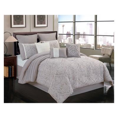 9pc King Winthrop Comforter Set Gray & Ivory - Riverbrook Home