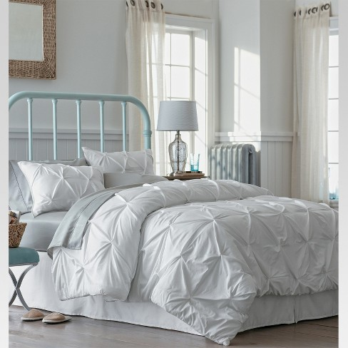 White Pinched Pleat Comforter Set King 3pc Threshold Target
