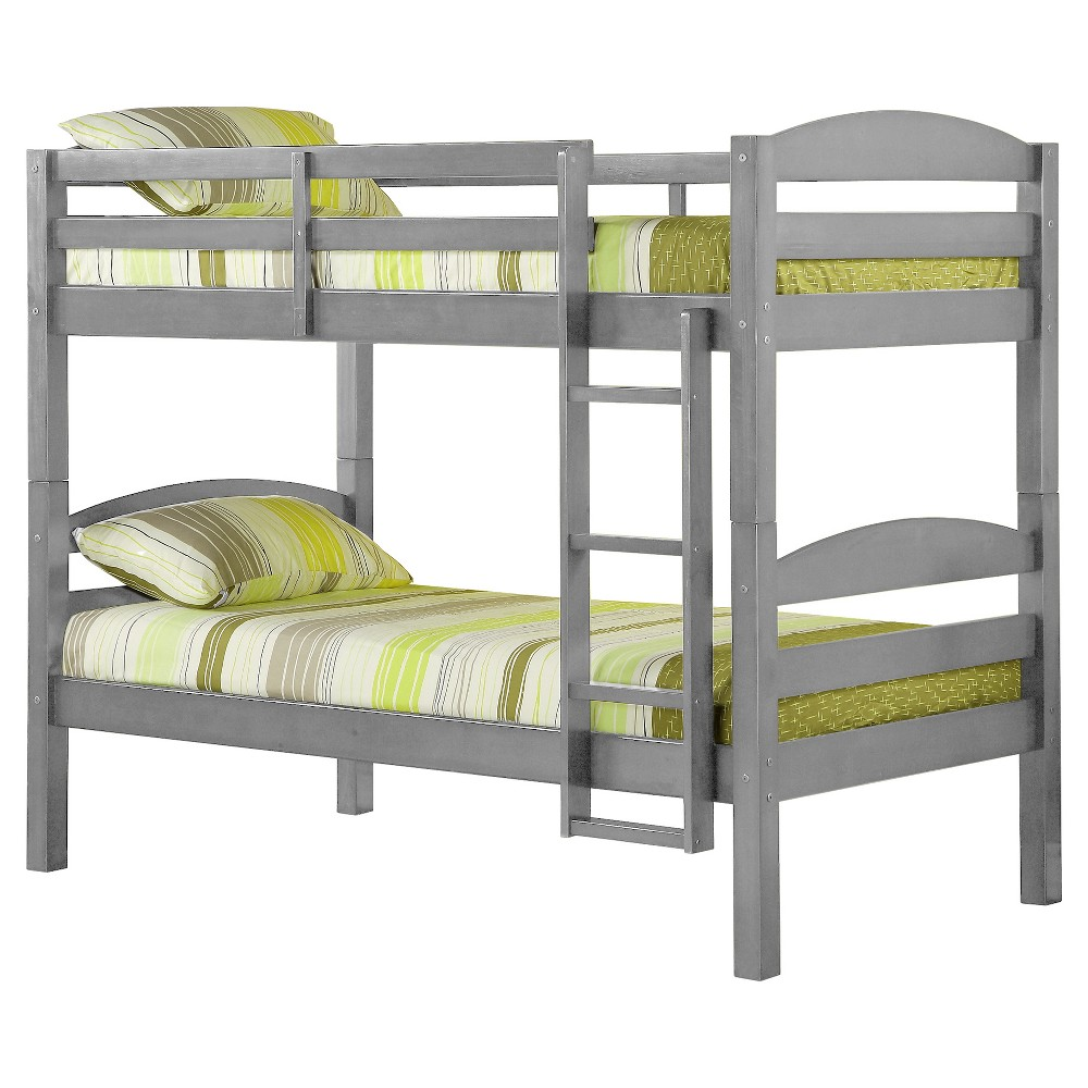 Solid Wood Twin over Twin Bunk Bed - Gray - Saracina Home