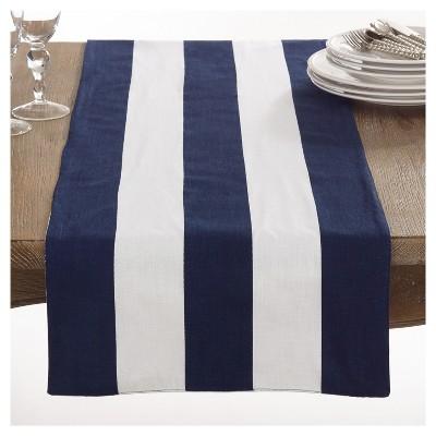 "Navy Blue Saint John Striped Design Table Runner (16""x72"")- Saro Lifestyle"