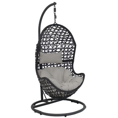 Cordelia Resin Wicker Hanging Egg Chair with Steel Stand and Gray Cushions - Sunnydaze Decor