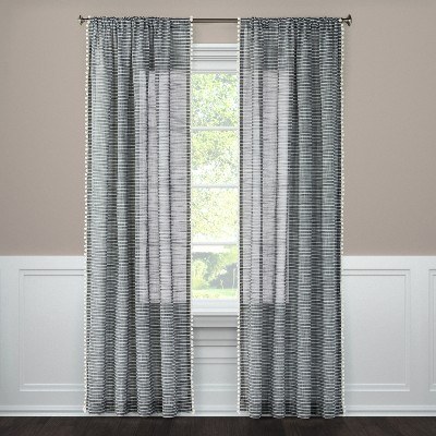 "95""x54"" Pom Stripe Window Sheer Black - Threshold™"