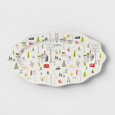 15  x 8.7  Stoneware Christmas In The City Serving Tray - Opalhouse™