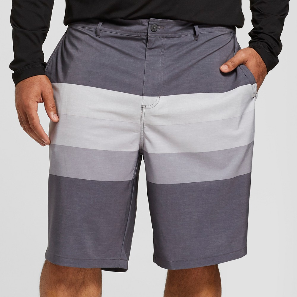 "Image of ""Men's Big & Tall Striped 10.5"""" Triton Hybrid Swim Shorts - Goodfellow & Co Black 60"""