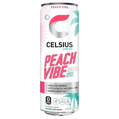 Celsius Sparkling Peach Vibe Energy Drink - 12 fl oz Can