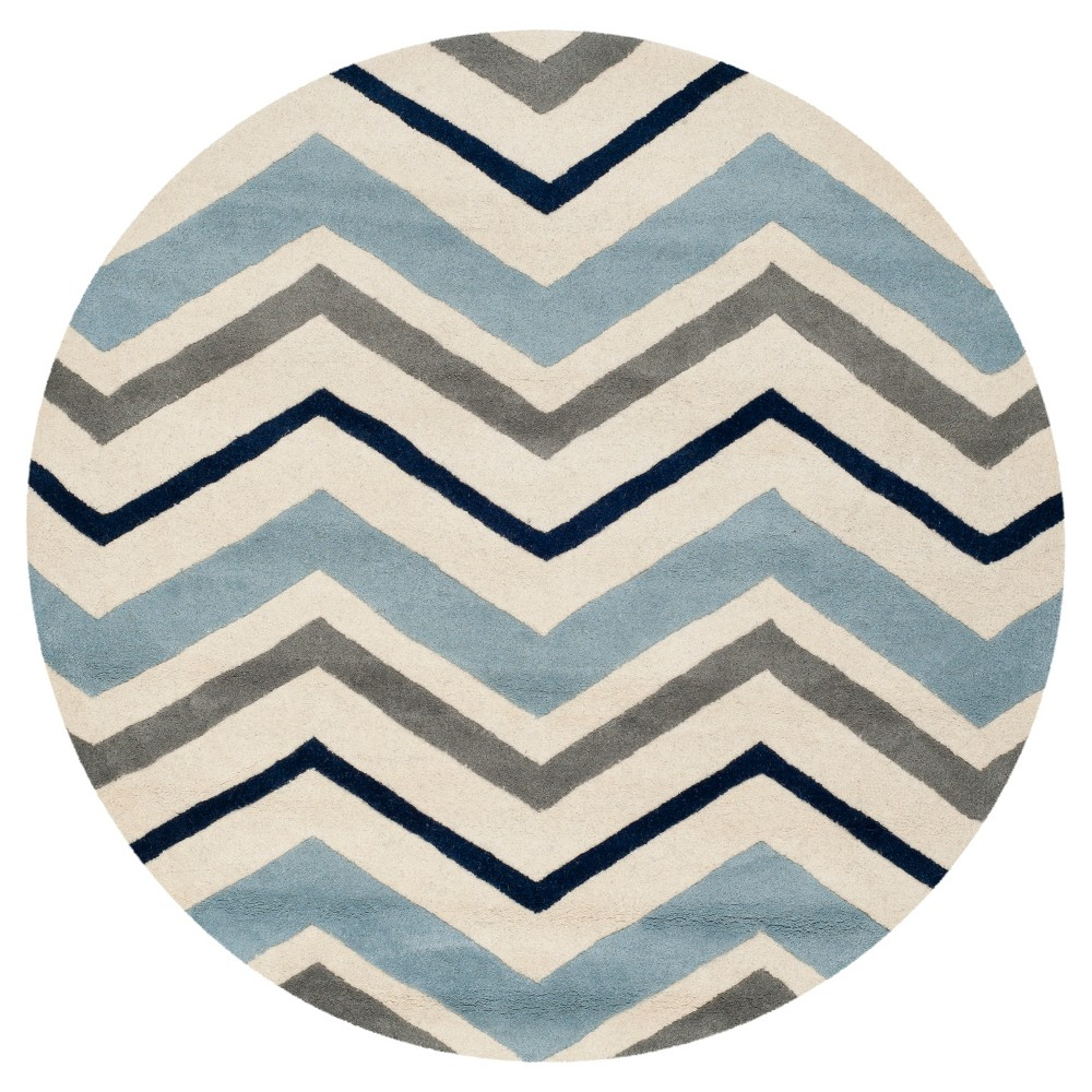 Ivory/Dark Gray Geometric Tufted Round Area Rug - (7' Round) - Safavieh, White