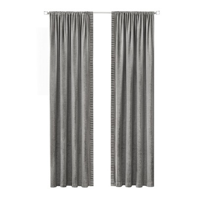 Kate Aurora Lux Living 2 Pack Chenille Rod Pocket Window Curtain Panels