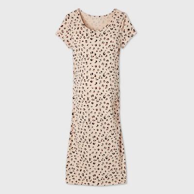 Leopard Print Short Sleeve T-Shirt Maternity Dress - Isabel by Ingrid & Isabel™ Beige M