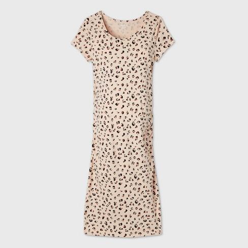 Leopard Print Short Sleeve T Shirt Maternity Dress Isabel By Ingrid Isabel Beige Xs Target