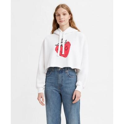 Levi's® Women's Graphic Hoodie Cropped Sweatshirt - Strawberry White