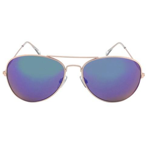 6ab23764d2 Women s Aviator Sunglasses W  Blue Lenses - Gold   Target