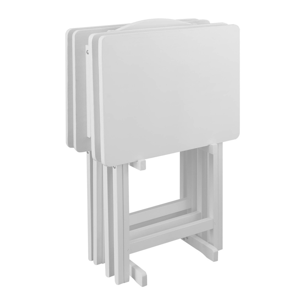 Image of 5pc Tray Table Set White - Flora Home