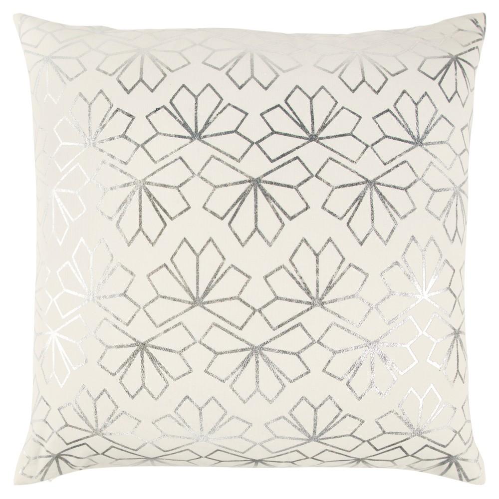 20 34 X20 34 Geometric Interlocking Crystal Throw Pillow Ivory Silver Rizzy Home