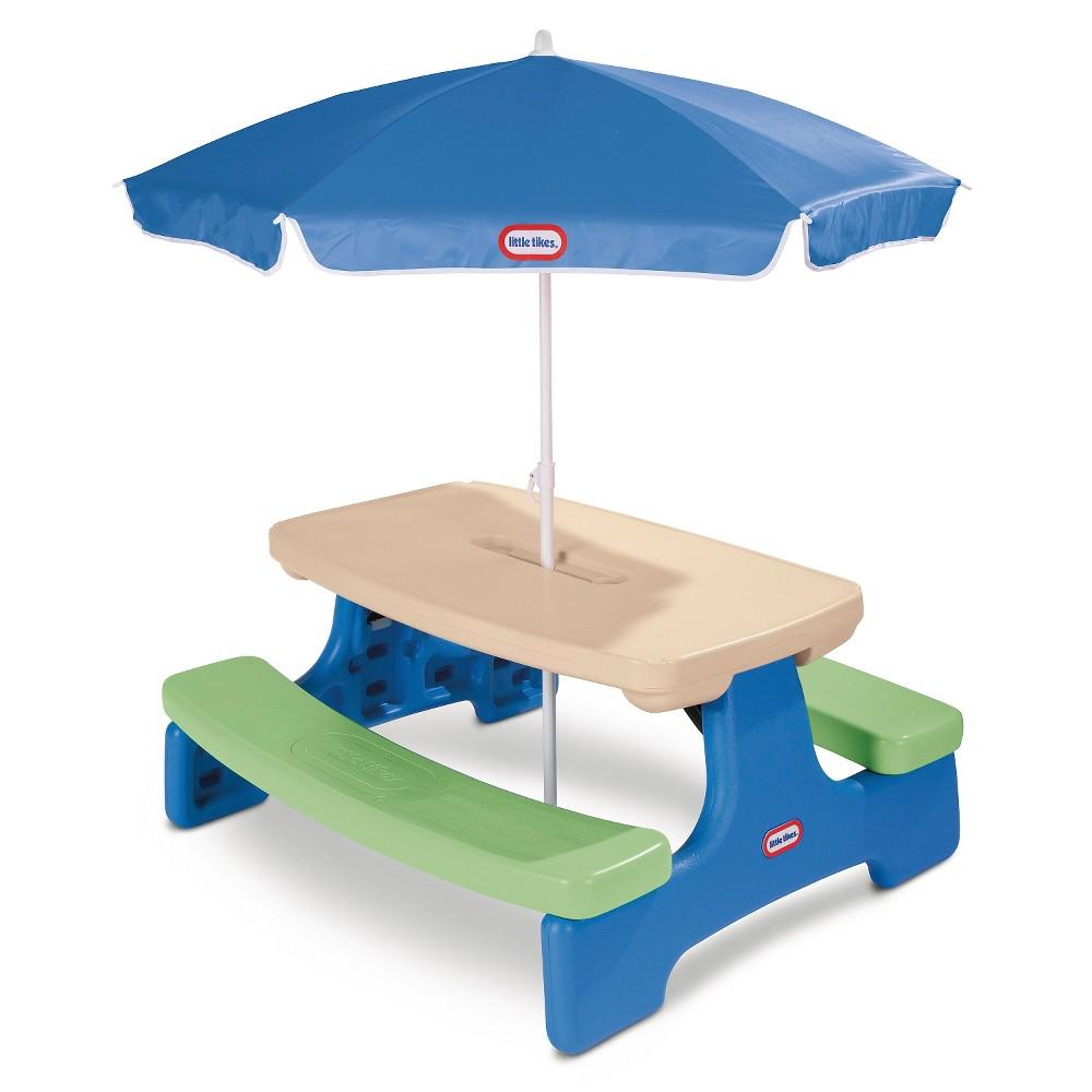 Little Tikes Easy Store Picnic Table with Umbrella, Multi-Colored