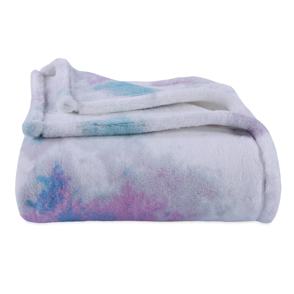 Image of Whimsical Watercolor Plush Throw Blue/Pink - Better Living