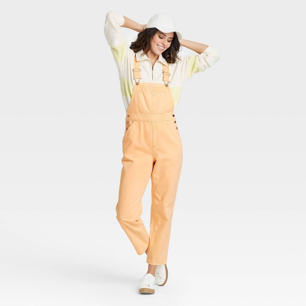 Women 39 S High Rise Ankle Length Taper Denim Overall Jeans Universal Thread 8482 Orange 10