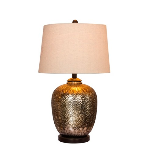 Hammertone Mercury Glass & Oil Rubbed Bronze Metal Pot Table Lamp Brown (Lamp Only) - Fangio Lighting - image 1 of 2