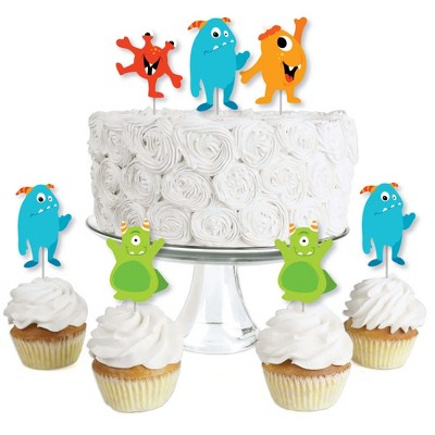 Big Dot of Happiness Monster Bash - Dessert Cupcake Toppers - Little Monster Birthday Party or Baby Shower Clear Treat Picks - Set of 24