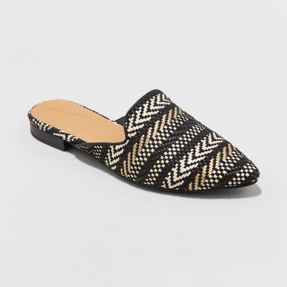 Women's Whisper Wide Width Woven Backless Slip On Mules - Universal Thread Tan 8W, Size: 8 Wide