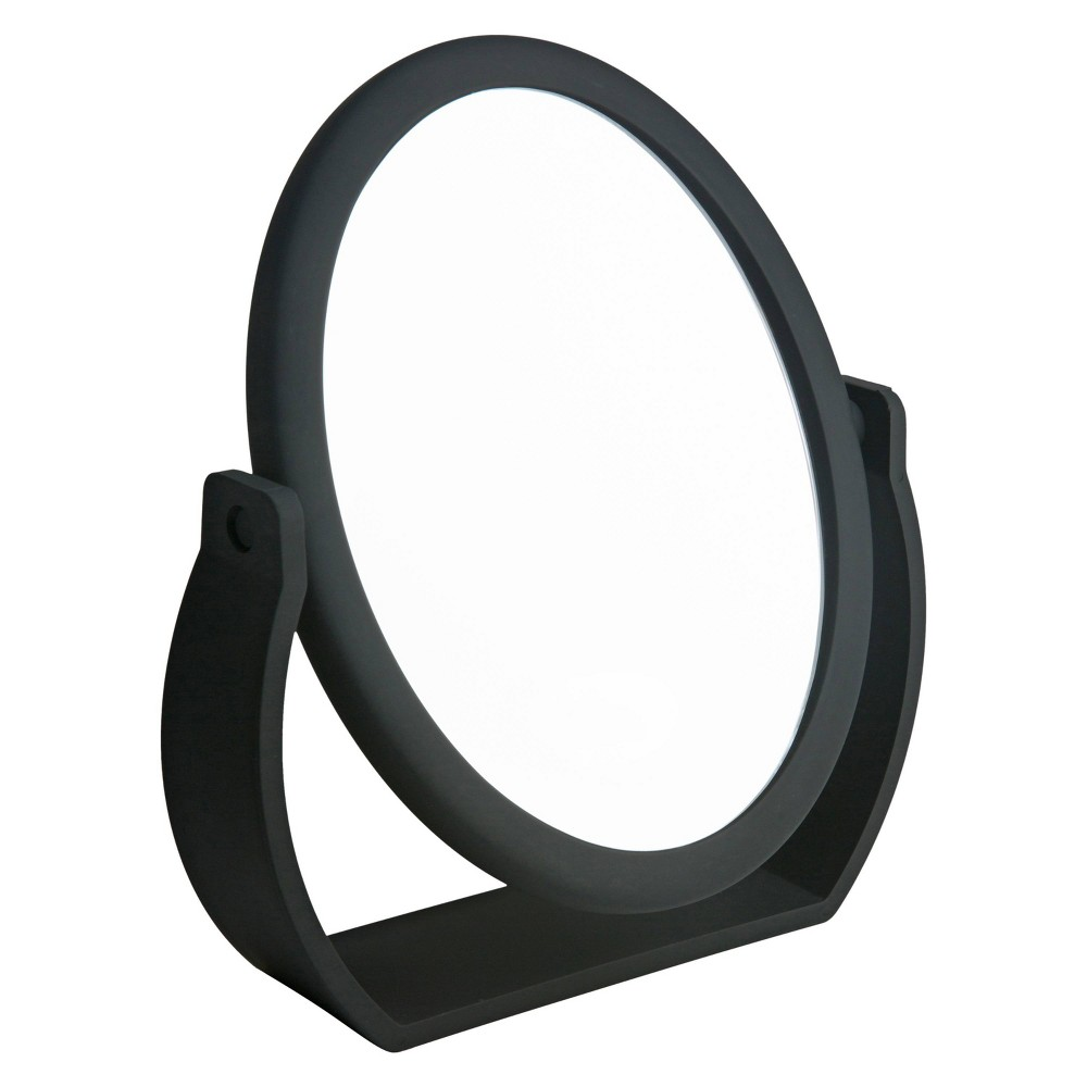 "Image of ""8"""" Vanity Rubberized Mirror 1X-10X Magnification Black - Home Details"""