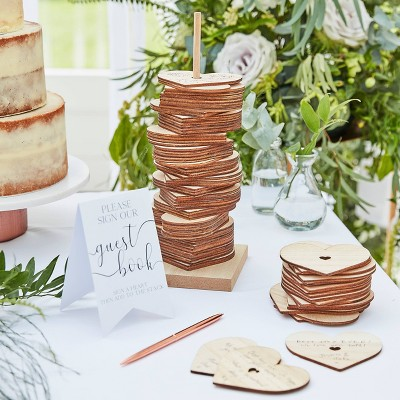 Wooden Stacking Heart Guest Book