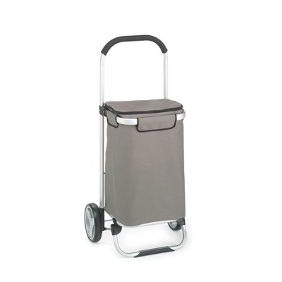 Homz 4670008 2 Large Wheel Fabric Euro Tote Aluminum Framed Storage Portable Foldable Gray Organizer Cart with Heavy Duty Polyester Bag, Medium