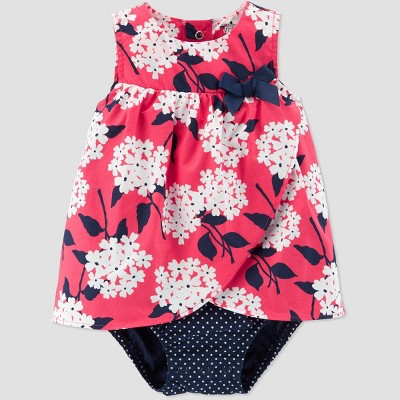 Baby Girls' Floral Sunsuit - Just One You® made by carter's Navy Blue/Pink 3M