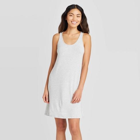 Women's Striped Sleeveless Beautifully Soft Nightgown - Stars Above™ Gray - image 1 of 2
