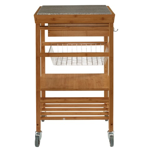Kitchen Cart With Granite Top Wood Natural