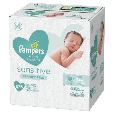 Pampers 9pk Sensitive Baby Wipes Refill - 576ct