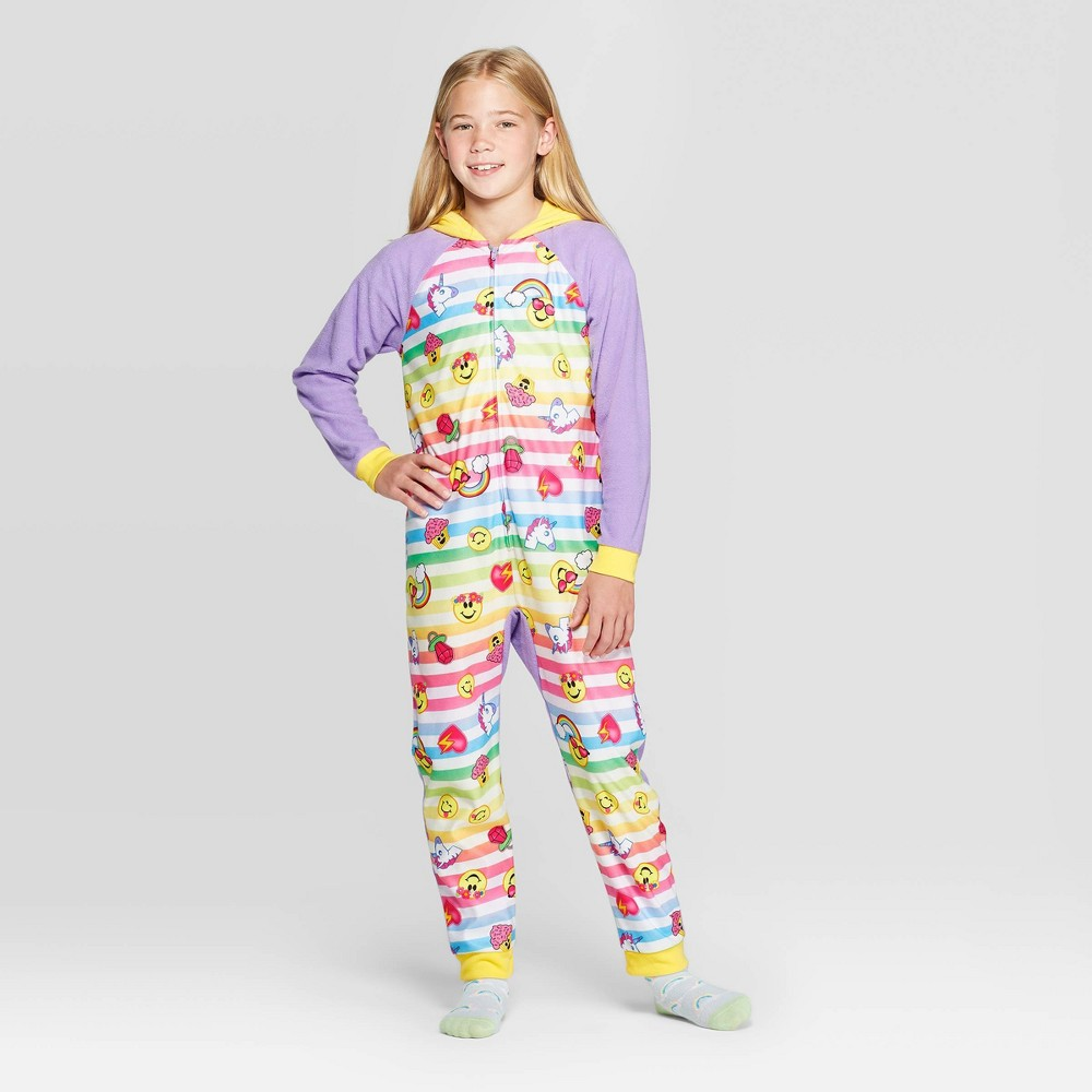 Image of Girls' Emoji Union Suit - Purple L, Girl's, Size: Large