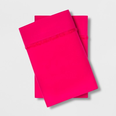 Standard Cotton Percale Solid Pillowcase Set Pink - Opalhouse™