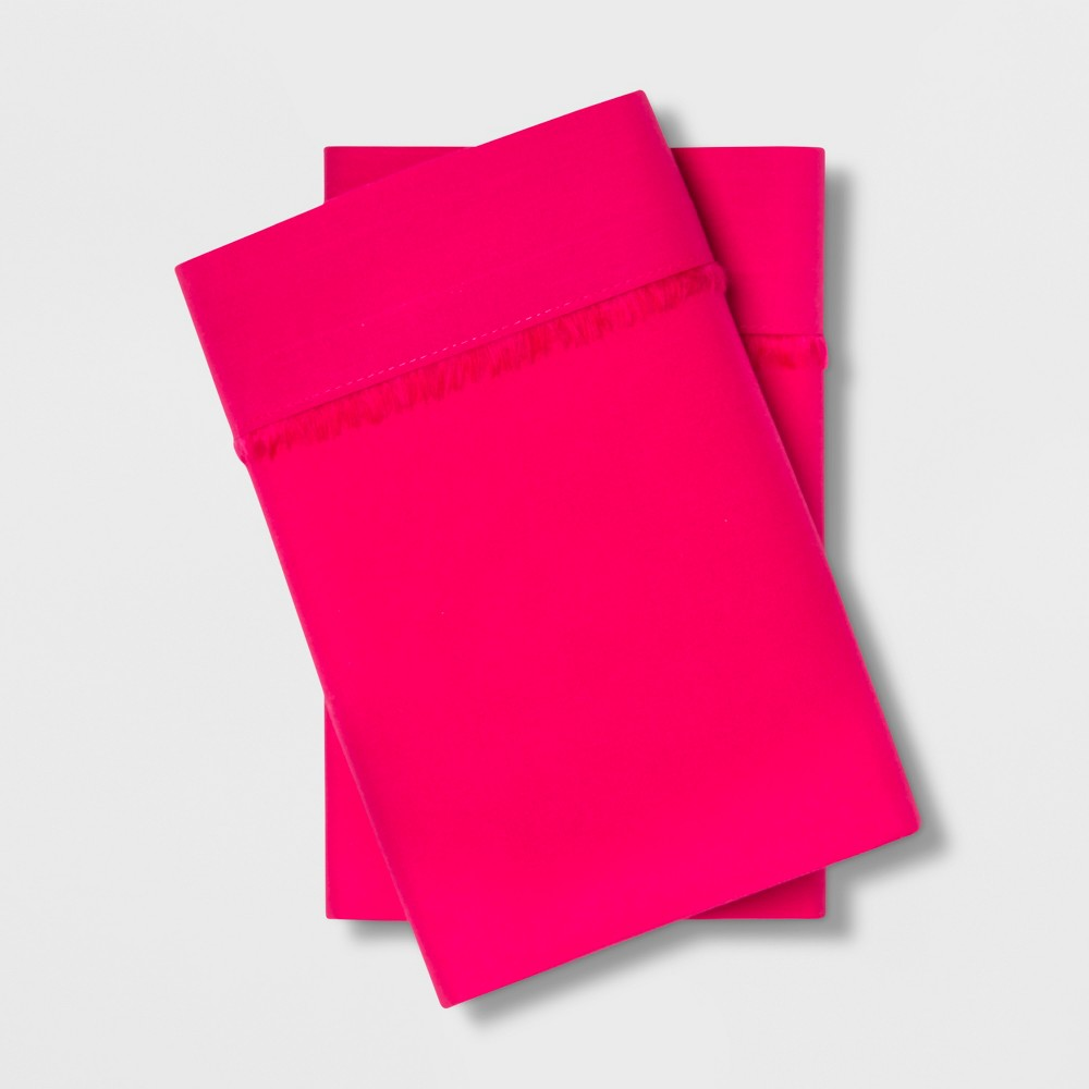 Image of Standard Cotton Percale Solid Pillowcase Set Pink - Opalhouse